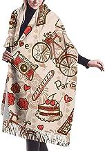 Elaine-Shop París Torre Eiffel, tema rojo, amor, baya, pastel, cámara, bicicleta, cachemira, sensación, clásico, suave, lujoso, invierno, bufanda para hombres, mujeres