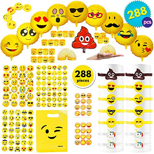 THE TWIDDLERS 288pcs Emoji Fiesta Juego De Accesorios para Regalar a Nino | Piñatas Bolsas Cumpleaños Halloween Decoracion | Smiley Globos Muelles Pulseras 3D Espuma Pegatinas Gomas Juguetes Regalos