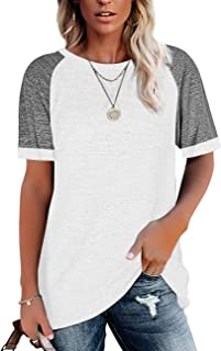Womens T Shirts Short Sleeve Tunic Tops Loose Crewneck...