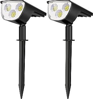Spot Solaire Extérieur, Lampe Solaire Etanche IP67, Projecteur Solaire Exterieur 1500LM avec 3 Modes d'Éclairage pour Jard...
