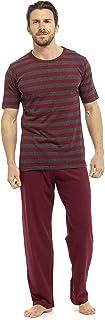 Tom Franks Mens Pyjama Set T-Shirt Long Trousers Stripe Jersey - Red/Grey L