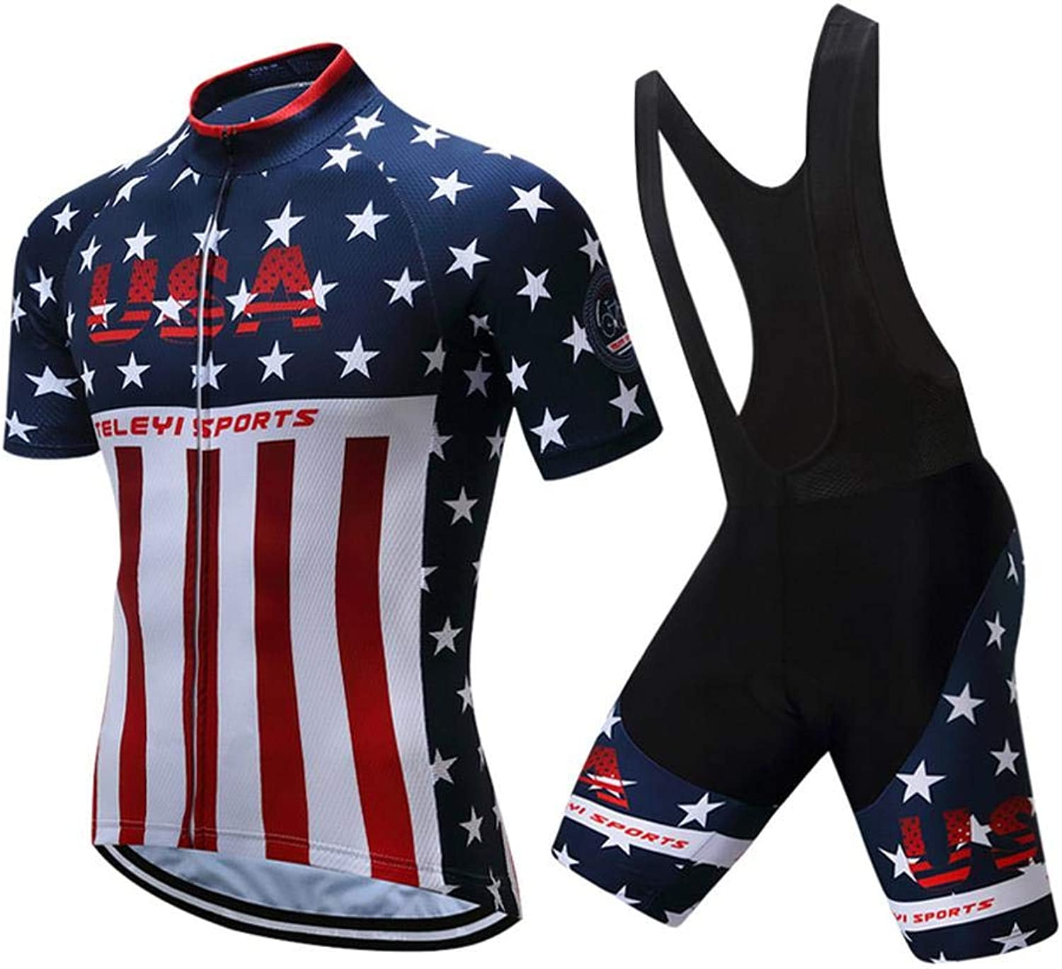 Men's Cycling Jersey, Men Cycling Clothing Set Short Sleeve Cycling Jersey + Cycling Bib Shorts
