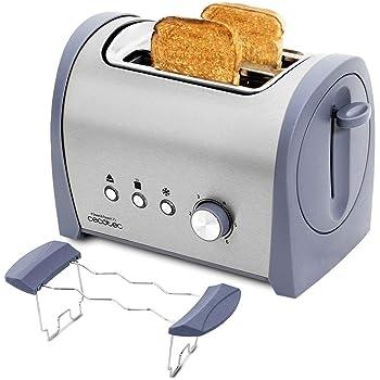 Cecotec Tostadora Acero Steel&Toast 2S. 6 Niveles de Potencia, Capacidad para 2 Tostadas, 3 Funciones(Tostar, Recalentar, Descongelar), Incluye Soporte Panecillos, Bandeja Recogemigas, 800 W: Amazon.es: Hogar