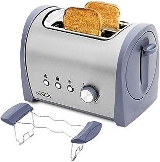 Cecotec Grille-pain en Acier Steel&Toast 2 S. 6 Niveaux de Puissance, Pour 2 Toasts, 3 Fonctions: Faire griller, Réchauffe...