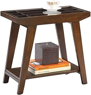 ORE International Traditional Glass Side Table, 24-Inch, Espresso, Brown