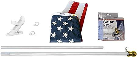 Annin Flagmakers 42914 All-Weather Nylon SolarGuard Nyl-Glo American Flag, Solar Light & Flag Pole Kit, 3 x 5 Feet