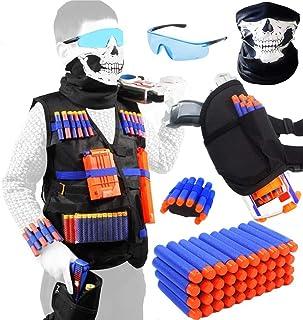 Meiqils 45pcs Niños Chaleco Táctico,Kids Elite Tactical Blasters Chaleco De Chaleco para Nerf Gun N-Strike Elite Series con 40 Dardos De Recarga Bullets
