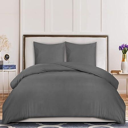 Utopia Bedding Housse de Couette 240x220 cm avec 2 Taies d'oreiller 65x65 cm - (Gris) Parure de Lit 2 Personnes avec Fermeture Éclair - Sets de Housse Couette en Microfibre