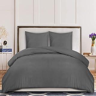 Utopia Bedding Housse de Couette 240x220 cm avec 2 Taies d'oreiller 65x65 cm - (Gris) Parure de Lit 2 Personnes avec Ferme...