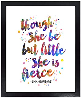 Dignovel Studios Unframed 8X10 Though she be but Little, she is Fierce William Shakespeare Quotes Watercolor Art Print dnc31
