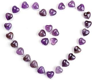 Jovivi Healing Crystal Natural Amethyst Love Heart Stones Bulk Pocket Worry Stone Gemstone Therapy Chakra Balancing Reiki ...