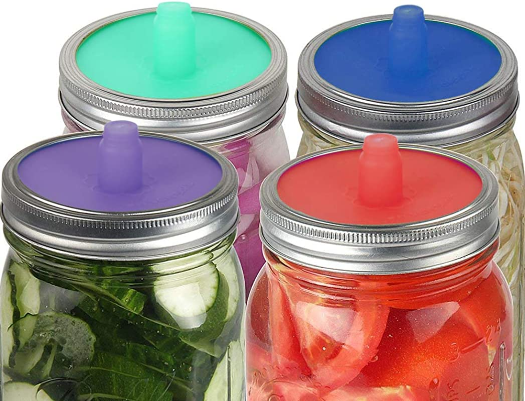 G A HOMEFAVOR 4 Pack Fermentation Airlocks Lids Waterless Foolproof Silicone Fermenting Pickle Jar Lids For Vegetables Sauerkraut Kimchi 4 Color
