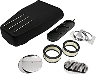 Assault Racing Products A8007PBK Polished Fins Black Aluminum Bug Catcher Style Hood Air Scoop Kit Single / Dual 3 BBL Carb