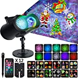 Christmas Projector Lights Halloween Ocean Wave 2-in-1 LED Lights with 12 Moving Slides Patterns, Waterproof Outdoor Indoor Landscape Decoration Light Projection for New Year Halloween Theme Party
