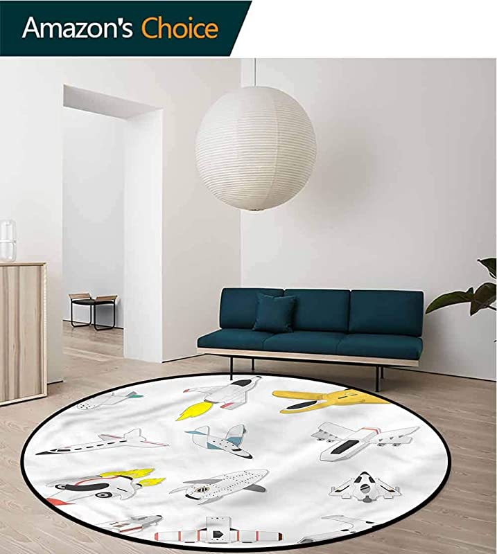 RUGSMAT Boys Round Area Rug Traveling Into The Space Foam Mat Bedroom Decor Bedroom Diameter 24