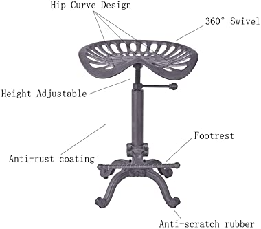 Diwhy Rustic Industrial Farmhouse Tractor Seat Counter Height Adjustable Bar Stool Cast Iron Swivel Stool Industrial bar Chai
