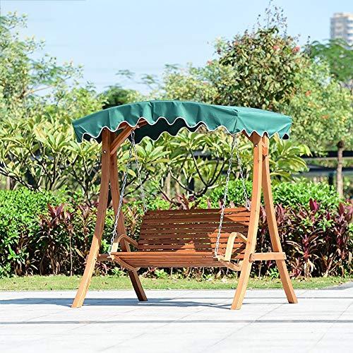 ZDYLM-Y Columpio Balancín Jardín 2 plazas de Madera de Madera Columpio al Aire Libre de los Asientos, de terraza al Aire Libre (Verde)