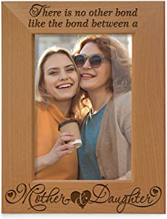 KATE POSH - There is no Other Bond Like The Bond Between a Mother & Daughter Engraved Wood Picture Frame. Mom Daughter Gifts, Mother of The Bride, First Mother's Day, Memorial Gifts (5x7 Vertical)