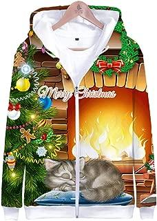 Unisex Christmas Cat 3D Prints Peak Pullover Mens Hoodie Zipper Wool Fleece Sweatshirt Jumper Jacket with Adjustable Hood and Front Pockets Team Club Couple Hoodies