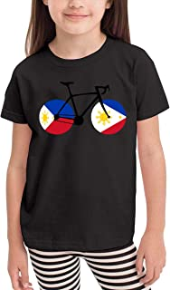 Baby Girls' Little Boys' Bicycle Philippines Flag Cute Short Sleeve T-Shirt Size 2-6