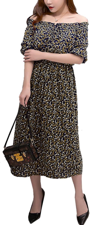 5Dreams Women's ALine Off the Shoulder Flower Elastic Waist Bohemian Dress L to 2XL