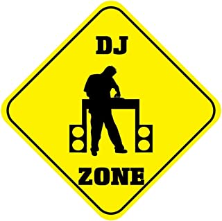 Metal Sign 12x12 Inches Poster Plaque Funny Sign Metal Plaque Cross Sign DJ Zone Crossing Style B Metal Wall Decor