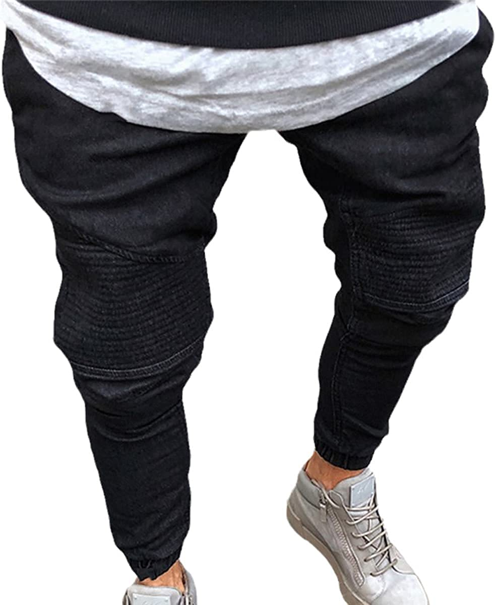 CACLSL Men's Stretch Ripped Skinny Motorcycle Jeans Stretch Pants Men's Solid Color Jogging Pencil Pants