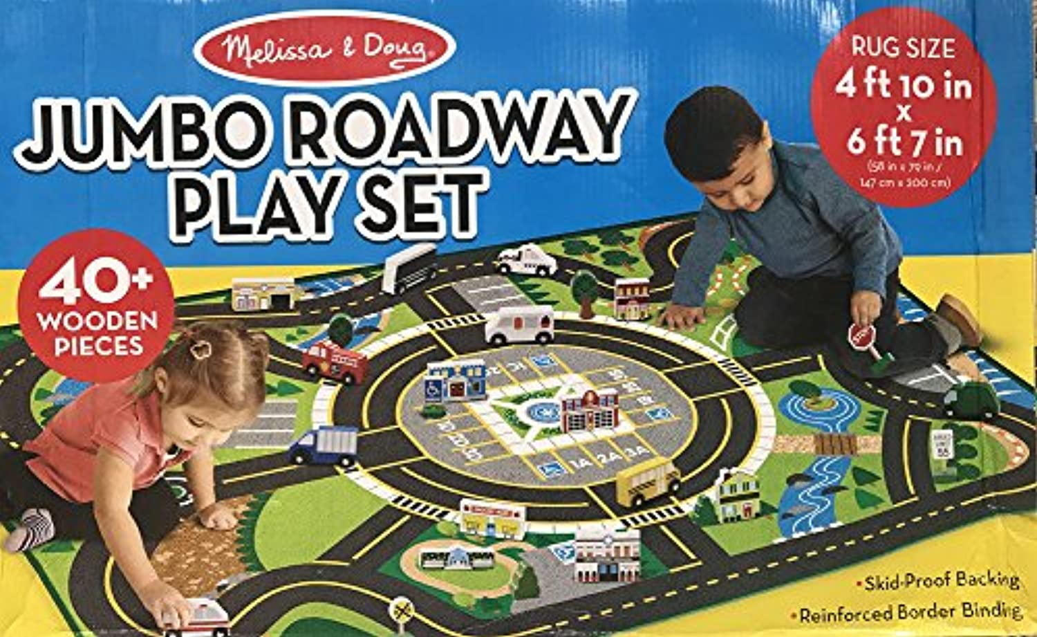 New Kids Jumbo Roadway 58  x 79  Activity Rug Play Set with 40+ Wooden Pieces