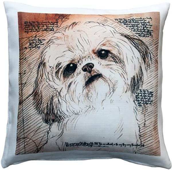 PILLOW D COR Shih Tzu Tilted Head Dog Pillow 17x17