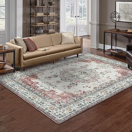 Taleta Mila Alfombra oriental moderna para salón, color gris y rojo, tamaño: 160 x 230 cm