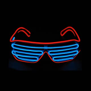 PINFOX Glow Shutter Neon Rave Glasses El Wire Flashing LED Sunglasses Light Up DJ Costumes for Party, 80s, EDM RB03 (Red -...