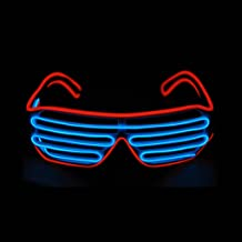 PINFOX Glow Shutter Neon Rave Glasses El Wire Flashing LED Sunglasses Light Up DJ Costumes for Party, 80s, EDM RB03 (Red - Blue)