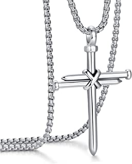 ADoor Men's Stainless Steel Nail Cross Pendant Necklace with 24 Inch Chain Polished Black Gold Silver