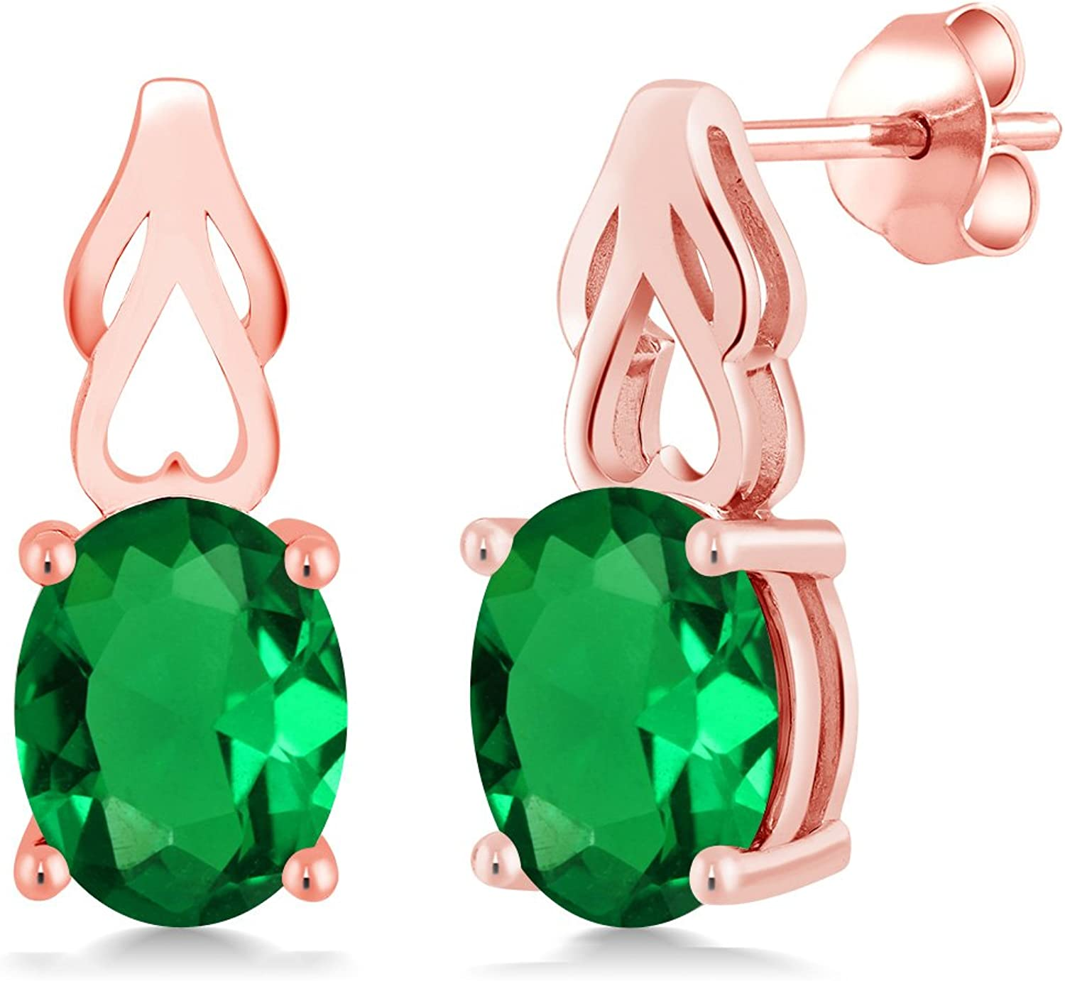 3.00 Ct Oval Green Simulated Emerald 18K pink gold Plated Silver Earrings
