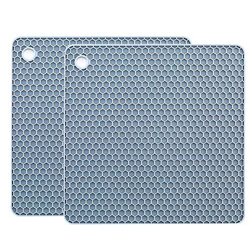 YOFASEN Quadratischer Silikon Topf Untersetzer für Zuhause - Wasserdichter, Hitzebeständiger Matten-Topflappen, rutschfester Untersetzer für die Küche, 18.2 x 18.2 x 0.6 cm, Blau, 2 STÜCK