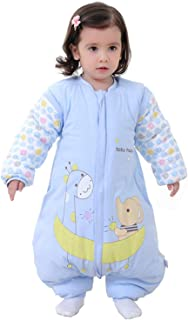 Saco de Dormir para bebé con piernas Saco de Dormir de Invierno de Manga Larga con Forro cálido para Invierno con pies 3.5Tog ( Azul 2-3 años)