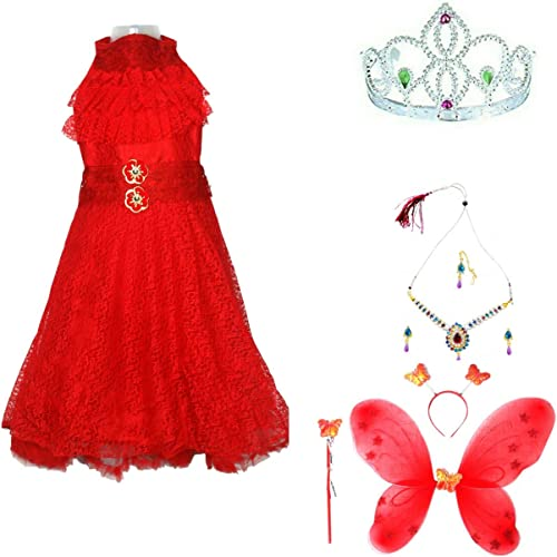 Baby Girl Fancy Pari Angel Butterfly Costume Frock Dress with Multicoloured Jewellery Necklace Earrings and Tika and Crown