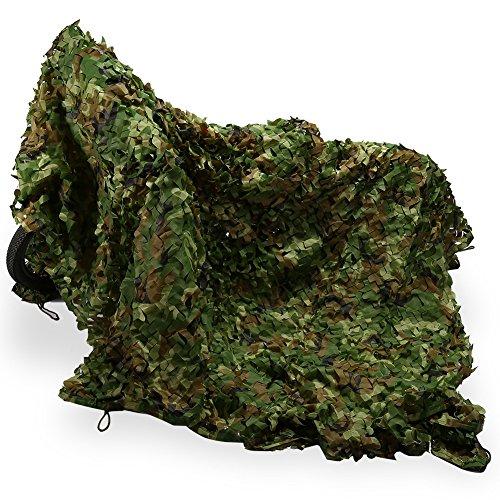 Rete mimetica di mimetizzazione, 2 x 3 m Woodlands Verde rete di Camouflage Persiane con rete griglia di supporto asciugatura rapida per campeggio Parasole Caccia Hide militare Army fotografia
