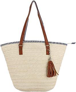 Sornean Summer Beach Straw Bag Top Handle Shoulder Bag Women Tote with Tassels