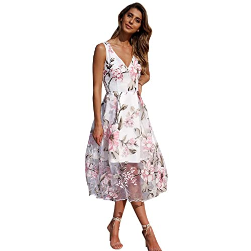 c2c37660b58 Ulanda-EU Womens Dresses Ladies Floral Printed Mesh Patchwork Dress Casual  Holiday Boho Beach Wedding