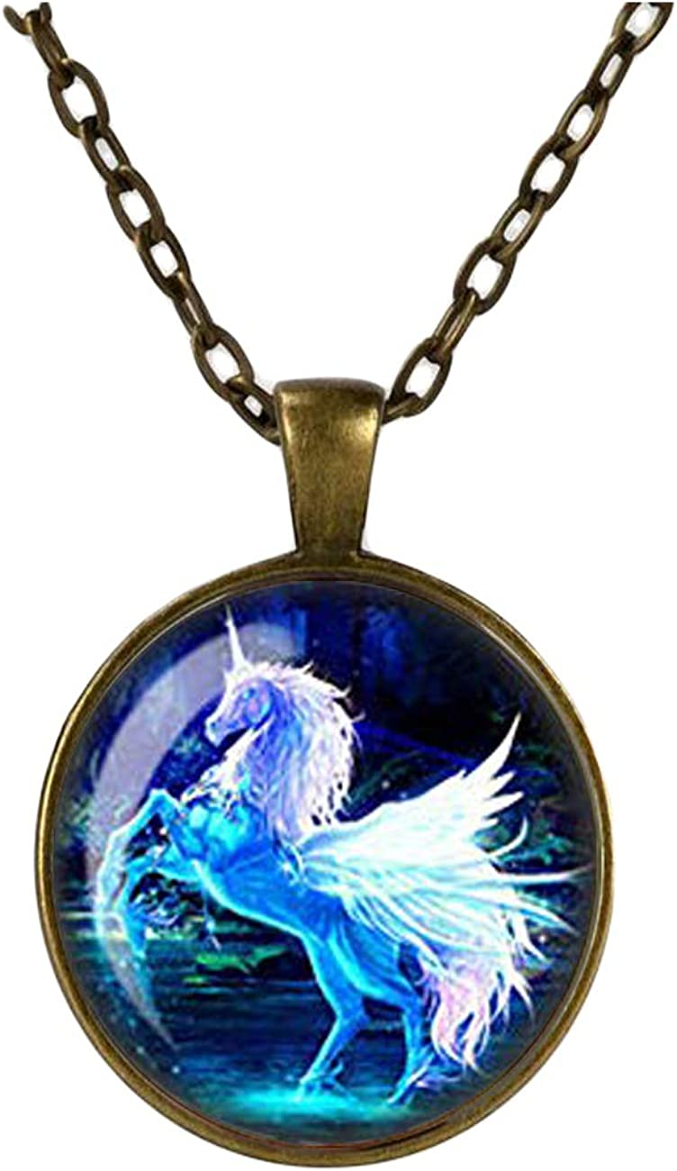 Blue Unicorn Necklace, Moonlit Unicorn Pendant, Glass Cameo Cabochon Tile Necklace Jewellery, Mystical Jewelry, Handmade Gift For Her (Copper)
