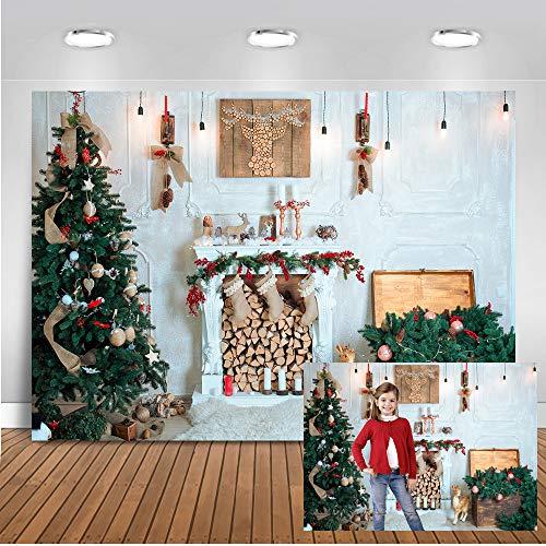 Telón de fondo de Navidad de Mehofoto 7x5 pies Vinilo Árbol de Navidad Chimenea Medias Reno Velas Decoraciones para fiestas Banner Suministros Nochebuena Interior Retrato Fotografía Telones de fondo