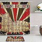 Juego de cortinas y tapetes de ducha de tela,Me encanta la cita de Roma letras con carpa de circo y rayas audaces fond,cortinas de baño repelentes al agua con 12 ganchos, alfombras antideslizantes