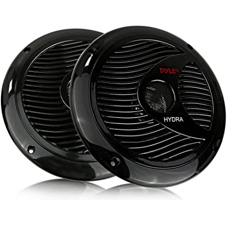 6.5 Inch Dual Marine Speakers - 2 Way Waterproof and Weather Resistant Outdoor Audio Stereo Sound System with 150 Watt Power, Polypropylene Cone and Cloth Surround - 1 Pair - Pyle PLMR60B (Black)