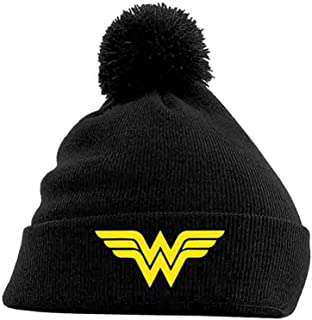 05090787499 Wonder Woman Beanie Hat Classic Logo Official Dc Comics Black Bobble
