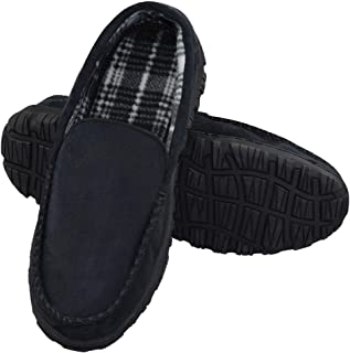 LA PLAGE Men's Advanced Anti-Slip Indoor/Outdoor Microsuede Moccasin Slippers with Hardsole