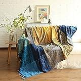 ele ELEOPTION Manta de chenilla, manta de jacquard con borlas para sofá o silla, decoración para cama, sofá, silla, diseño tribal popular (azul, 220 x 250 cm)