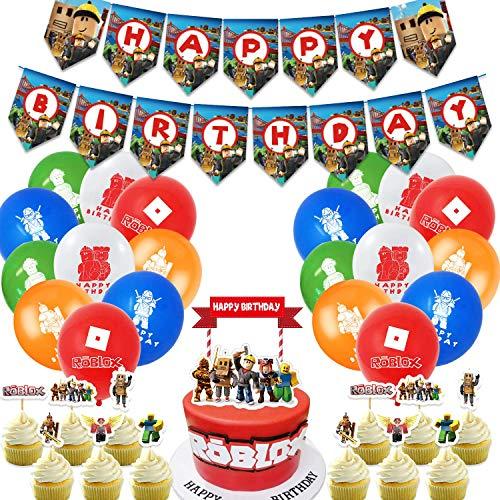MZZYP Roblox Partyzubehör mit Spielthema, Roblox Party-Dekoration, Sandkasten-Party inklusive Happy Birthday...