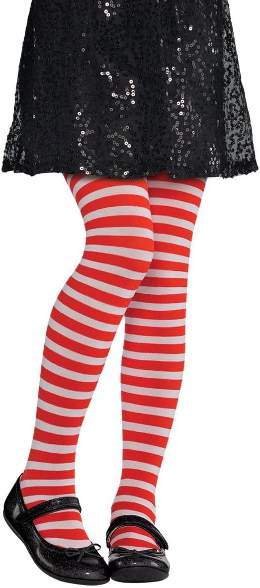 amscan 844783 White Striped Tights, Child M/L, Standard, Red