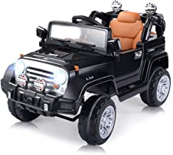 Costzon Ride On Jeep, 12V Battery Powered Car w/2 Motors, Parental Remote Control, Open Doors, Lights, MP3, Music, Horn, Spring Suspension, High/Low Speed, Electric Ride On Truck for Kids (Black)